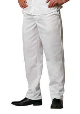 Chef Revival P201CPZ-30 Elastic Waist Cook Pant, Poly Cotton, Size 30, White