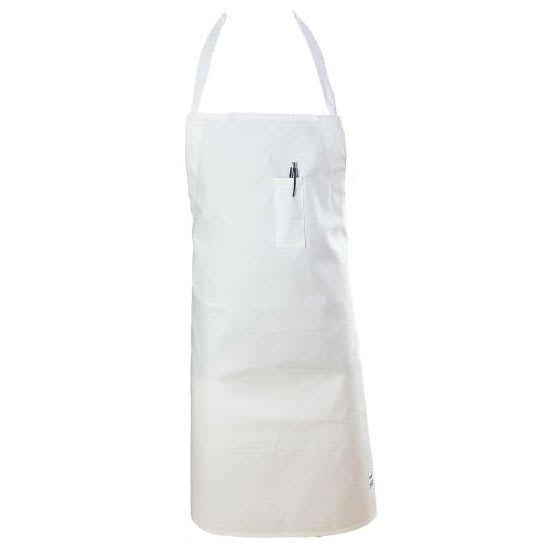 "Chef Revival 411BA-WH 1-Pocket Bib Apron w/ Adjustable Neck Strap - 29"" x 34"", Poly/Cotton, White"
