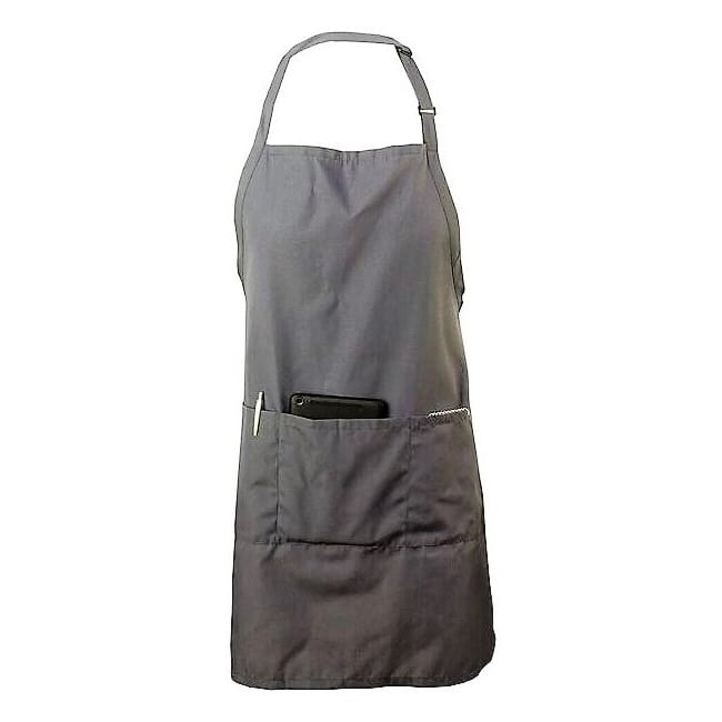 Chef Revival 601BAO-3-GR 3 Pocket Gourmet Bib Apron, Poly/Botton, Pewter Grey