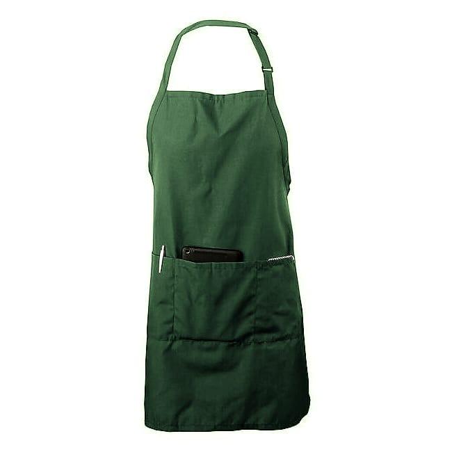 "Chef Revival 601BAO-3-HG 3 Pocket Bib Apron w/ Adjustable Neck Strap - 28"" x 30"", Twill, Hunter Green"