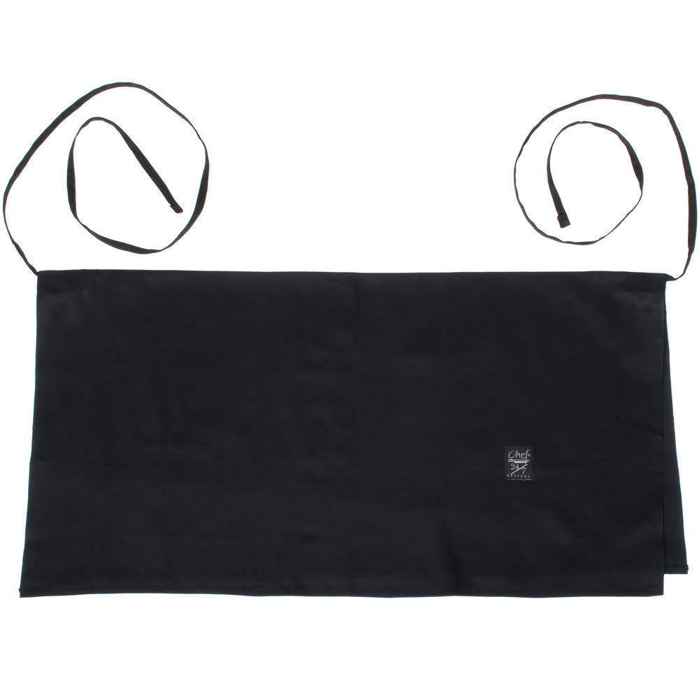 "Chef Revival 604FW-BK 4-Way Waist Apron - 34"" x 17"", Poly/Cotton, Black"