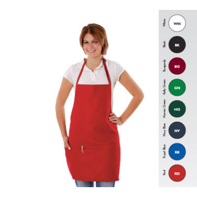 "Chef Revival 612BAFH-GN 3-Pocket Bib Apron w/ Adjustable Neck Strap - 28"" x 27"", Poly/Cotton, Kelly Green"