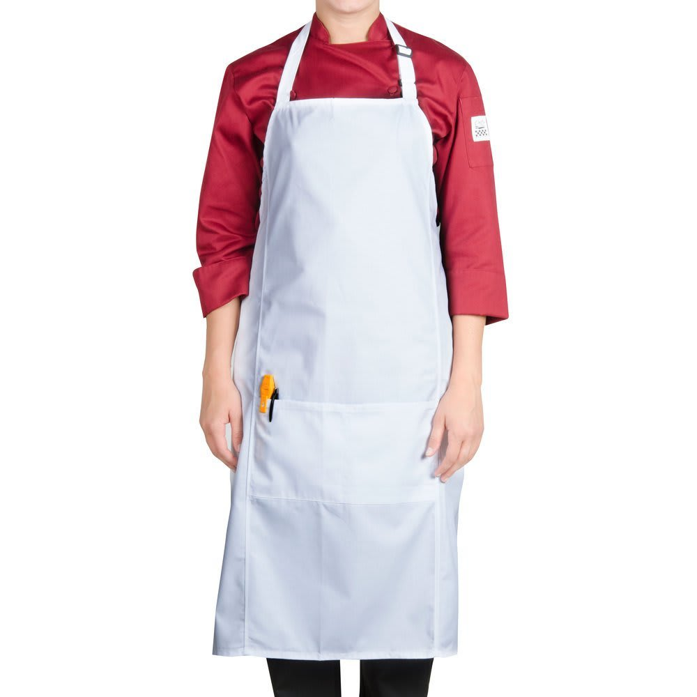 "Chef Revival 619BA-WH 1-Pocket Bib Apron - 29"" x 38"", Poly/Cotton, White"