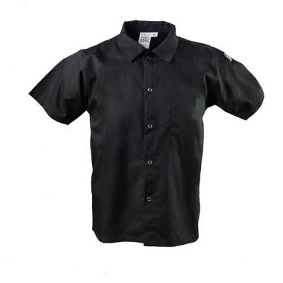 Chef Revival CS006BK-4X Chef's Shirt w/ Short Sleeves - Poly/Cotton, Black, 4X