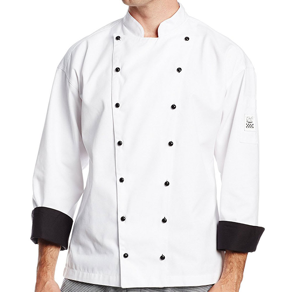 Chef Revival J013-L Chef's Jacket w/ Long Sleeves - Poly/Cotton, White, Large