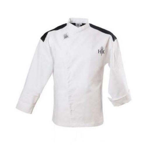 Chef Revival J027-3X Chef's Jacket w/ Long Sleeves - Poly/Cotton, White w/ Black Yoke, 3X