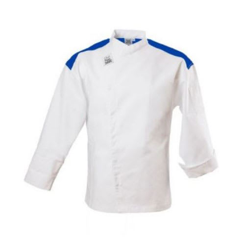 Chef Revival J027BL-L Chef's Jacket w/ Long Sleeves - Poly/Cotton, White w/ Blue Yoke, Large
