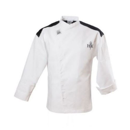 Chef Revival J027-M Chef's Jacket w/ Long Sleeves - Poly/Cotton, White w/ Black Yoke, Medium