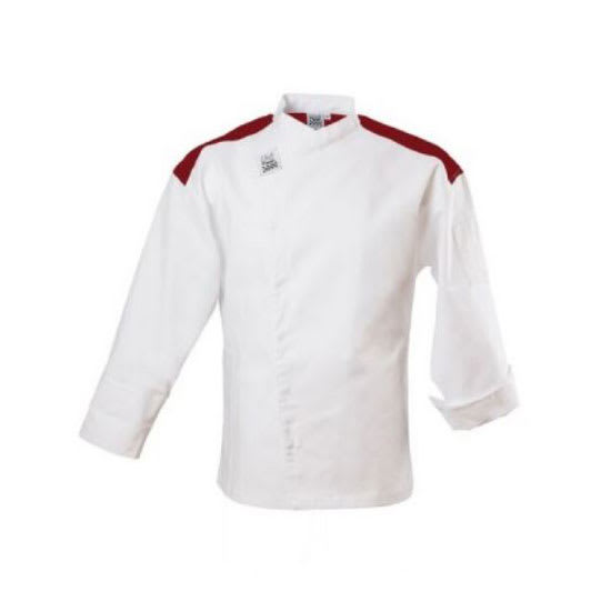 Chef Revival J027RD-M Chef's Jacket w/ Long Sleeves - Poly/Cotton, White w/ Red Yoke, Medium