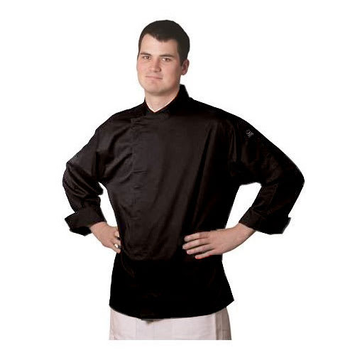 Chef Revival J070BK-S Chef's Jacket w/ 3/4 Sleeves - Poly/Cotton, Black, Small