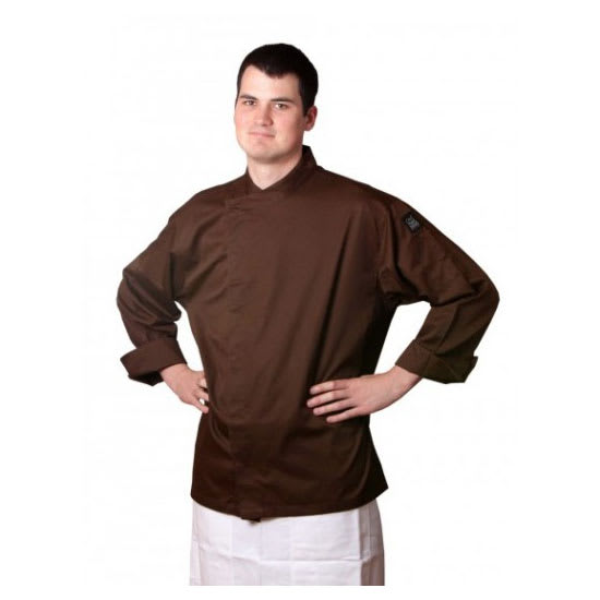 Chef Revival J070BR-M Chef's Jacket w/ 3/4 Sleeves - Poly/Cotton, Brown, Medium