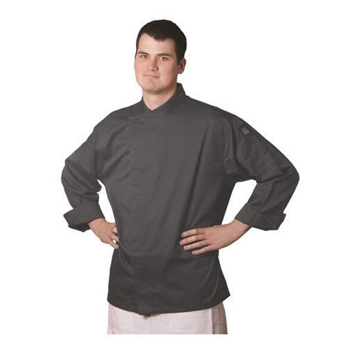 Chef Revival J070GR-M Chef's Jacket w/ 3/4 Sleeves - Poly/Cotton, Gray, Medium