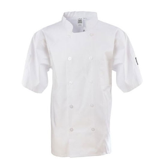 Chef Revival J105-XS Chef's Jacket w/ Short Sleeves - Poly/Cotton, White, X-Small
