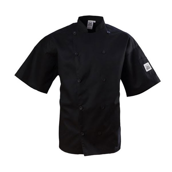 Chef Revival J109BK-XS Chef's Jacket w/ Short Sleeves - Poly/Cotton, Black, X-Small