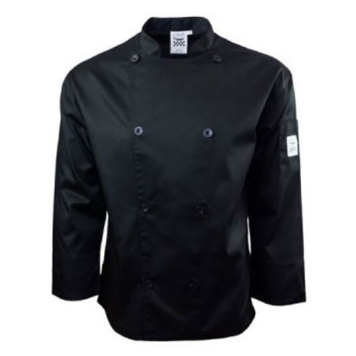 Chef Revival J200BK-L Chef's Jacket w/ Long Sleeves - Poly/Cotton, Black, Large
