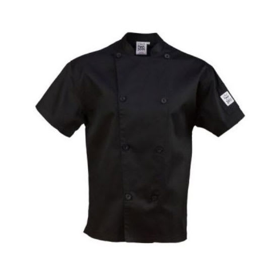 Chef Revival J205BK-M Chef's Jacket w/ Short Sleeves - Poly/Cotton, Black, Medium