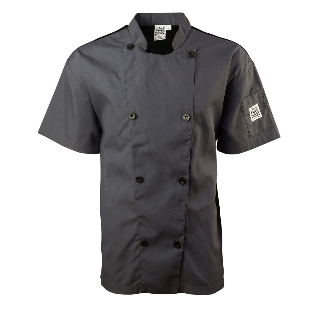 Chef Revival J205GR-M Short Sleeve Double Breasted Jacket, Medium, Pewter Grey