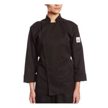 Chef Revival LJ025BK-XL Ladies Chef's Jacket w/ Long Sleeves - Poly/Cotton, Black, X-Large