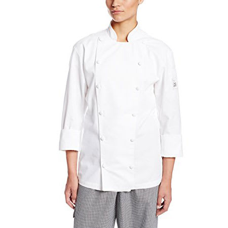 Chef Revival LJ027-S Ladies Chef's Jacket w/ Long Sleeves - Poly/Cotton, White, Small
