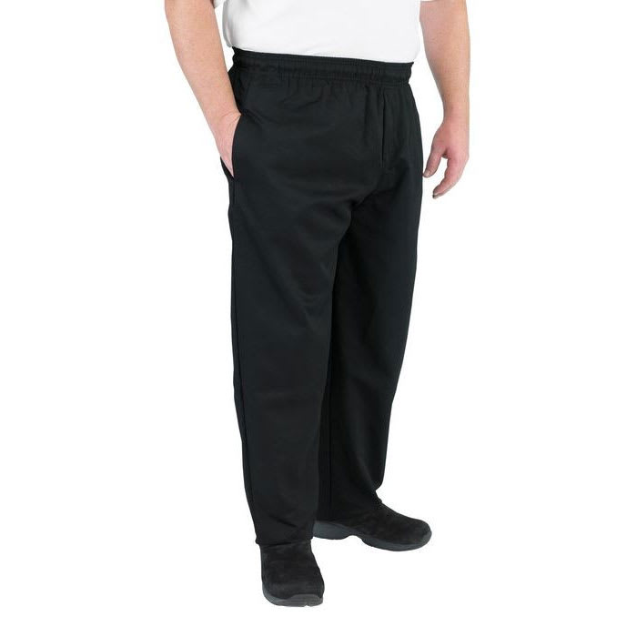 Chef Revival P014BK-3X Chef's Pants w/ Elastic Waist - Poly/Cotton, Black, 3X