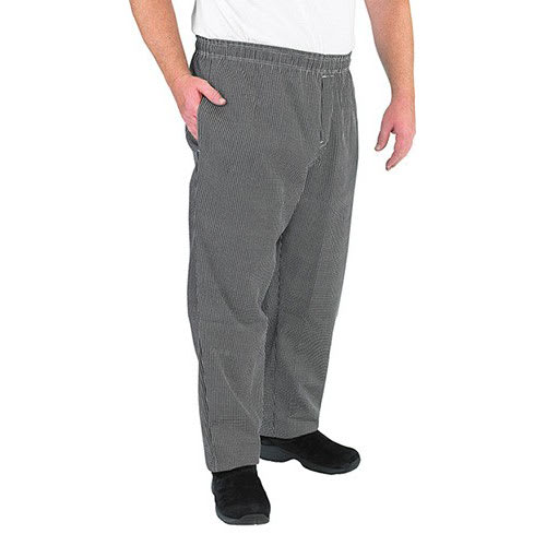 Chef Revival P015HT-M Chef's Pants w/ Elastic Waist - Poly/Cotton, Black/White Houndstooth, Medium