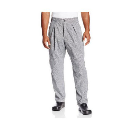 Chef Revival P018HT-M Chef's Pants w/ Drawstring Waist - Poly/Cotton, Black/White Houndstooth, Medium