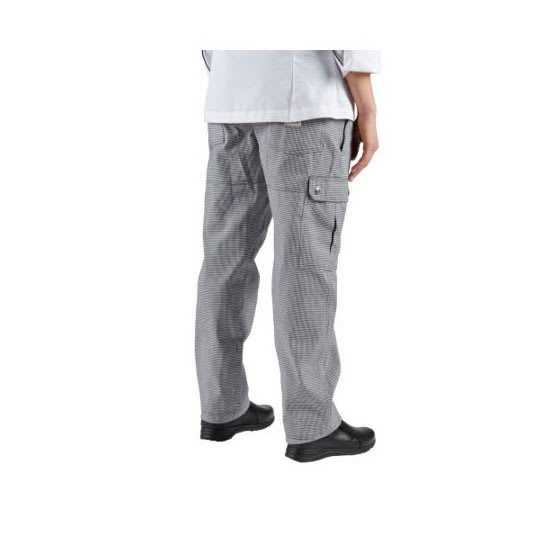 Chef Revival P023HT-L Cargo Chef's Pants w/ Elastic Waist - Poly/Cotton, Black/White Houndstooth, Large
