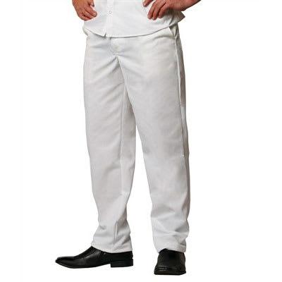 Chef Revival P201CPZ-34 Cook Pants w/ Elastic Waist - Poly/Cotton, White, Size 34