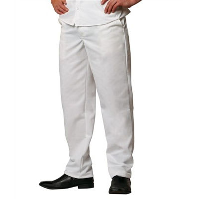 Chef Revival P201CPZ-40 Cook Pants w/ Elastic Waist - Poly/Cotton, White, Size 40