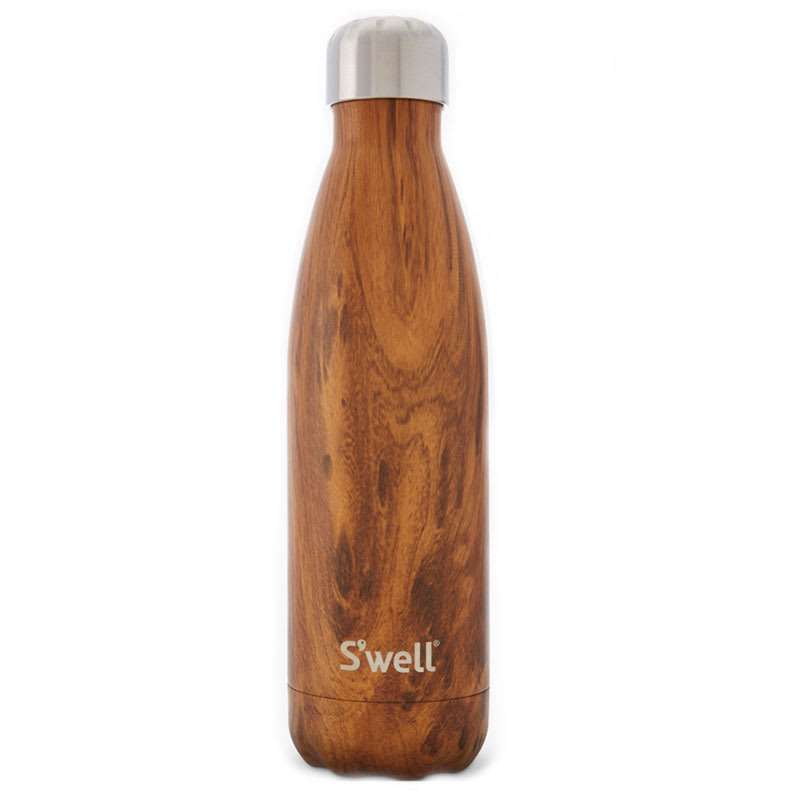 S'well WWB-TEAK01 17-oz Insulated Water Bottle - BPA Free, 18/8 Stainless, Teakwood