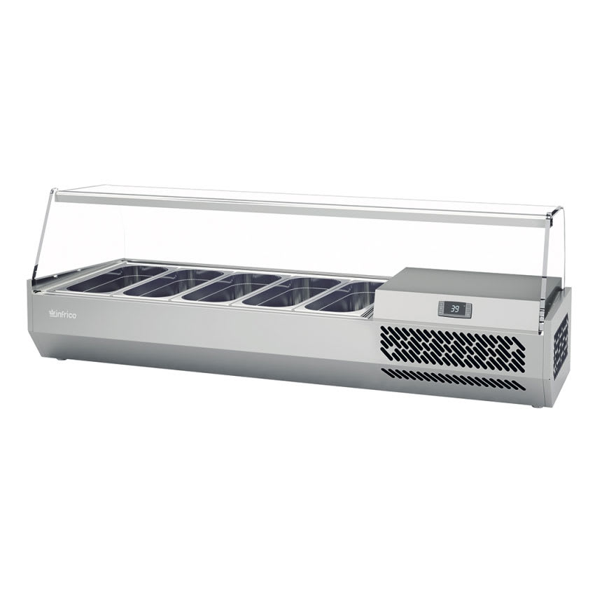 "Infrico ICT-VIP1490GLASS 58.75"" Refrigerated Countertop Dispenser Station w/ (4) Third & (1) Half-Size Pans, 115v"