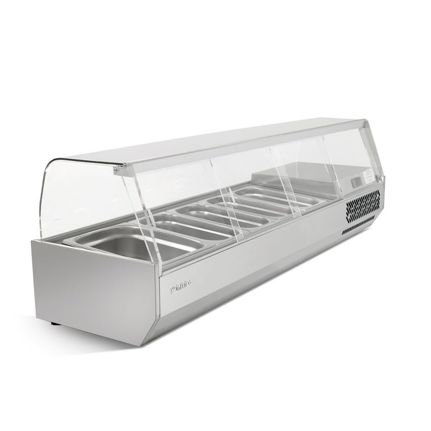 "Infrico ICT-VIP1740GLASS 68.25"" Refrigerated Countertop Dispenser Station w/ (5) Third & (1) Half-Size Pans, 115v"