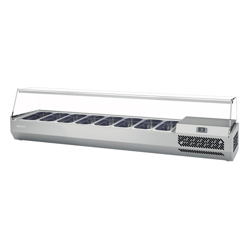 "Infrico ICT-VIP1980GLASS 77.87"" Refrigerated Countertop Dispenser Station w/ (8) Third-Size Pans, 115v"