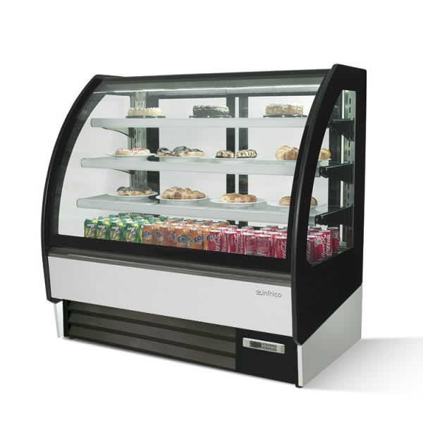 "Infrico IDC-VBR12R 50.75"" Full-Service Bakery Case w/ Curved Glass - (4) Levels, 115v"