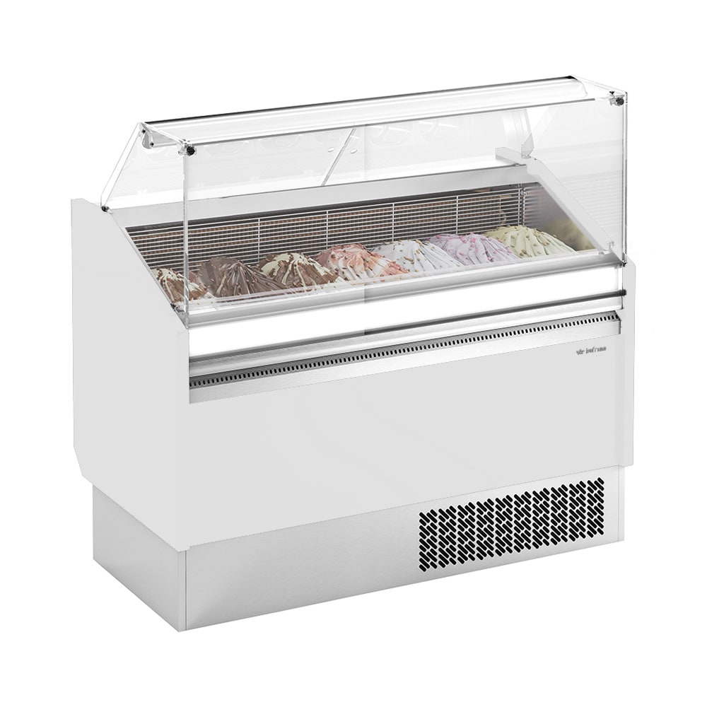 """Infrico IDC-VBZ15 62"""" Stand Alone Ice Cream Dipping Cabinet w/ 10 Tub Capacity - White, 115v"""