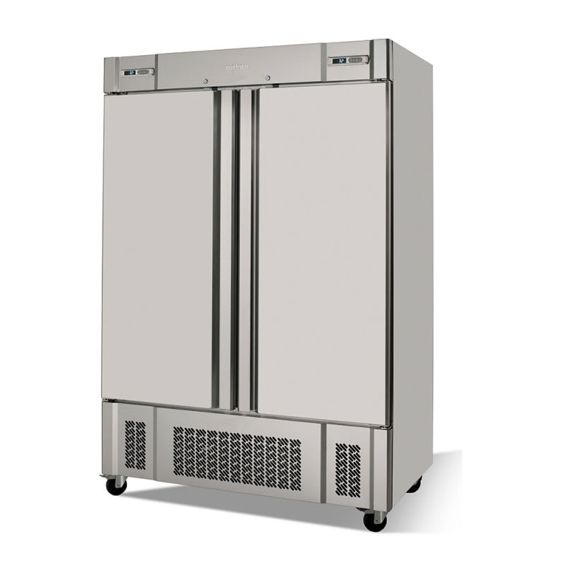 "Infrico IRR-AN49MX 54.5"" Two Section Commercial Refrigerator Freezer - Solid Doors, Bottom Compressor, 115v"