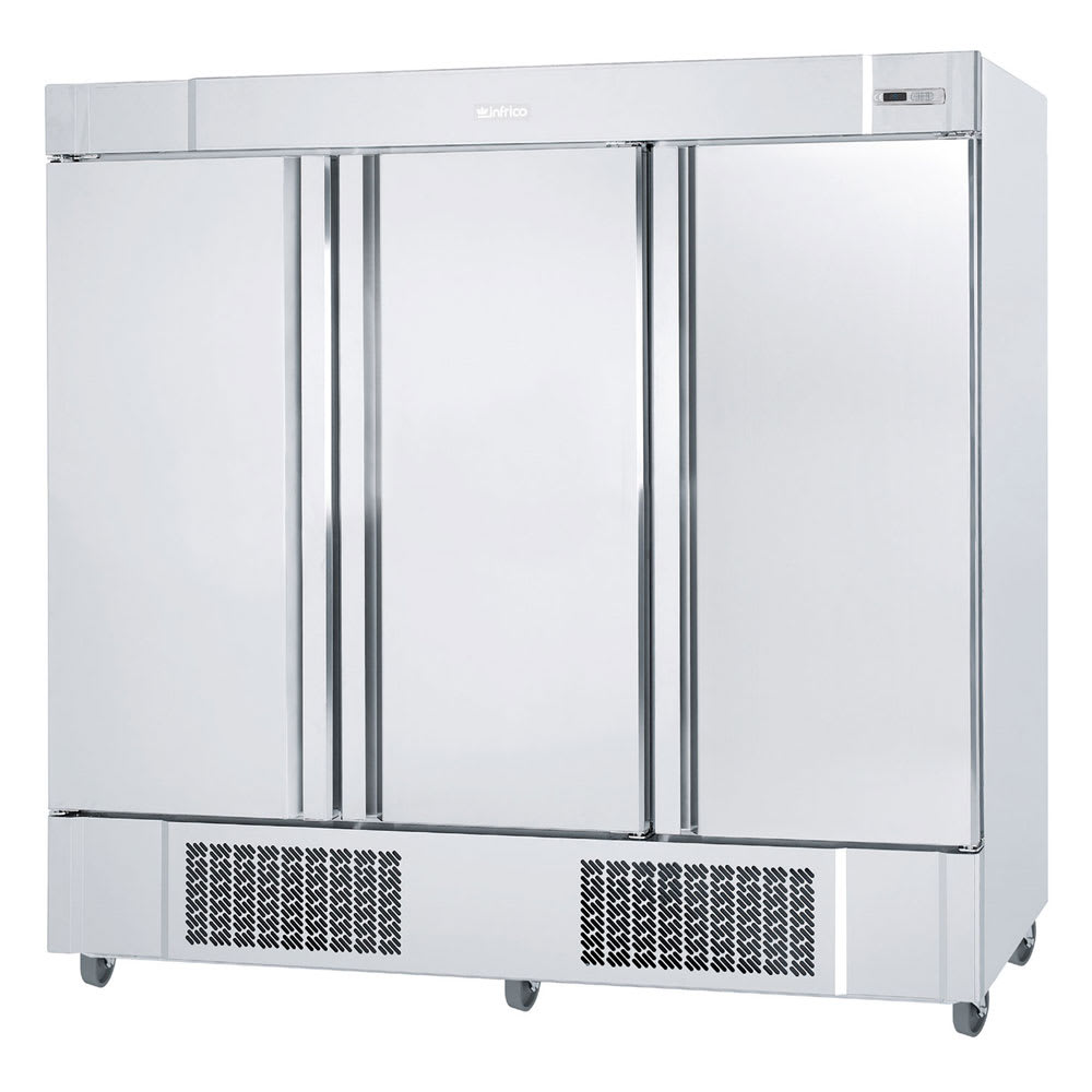 "Infrico IRR-AN67BT 82"" Three-Section Reach-In Freezer, (3) Solid Doors, 115v"