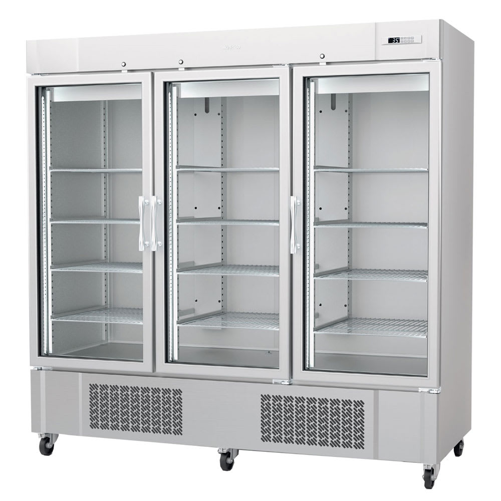 "Infrico IRR-AN67CR 82"" Three-Section Reach-In Refrigerator, (3) Glass Doors, 115v"