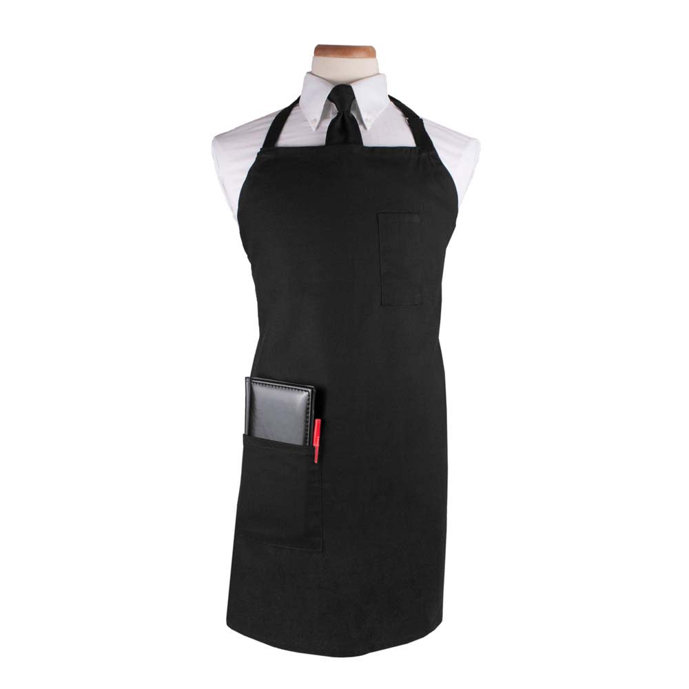 """Ritz CL2PBIABK-1 1-Pocket Bib Apron w/ Adjustable Neckstrap - 32"""" x 32.5"""", Cotton/Poly, Black"""