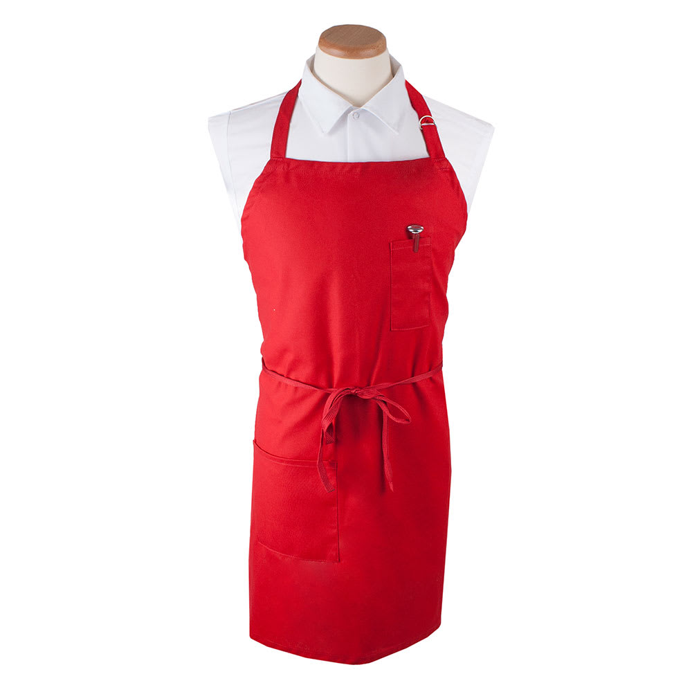 "Ritz CL2PBIARD-1 1 Pocket Bib Apron w/ Adjustable Neckstrap - 32"" x 32.5"", Cotton/Poly, Red"