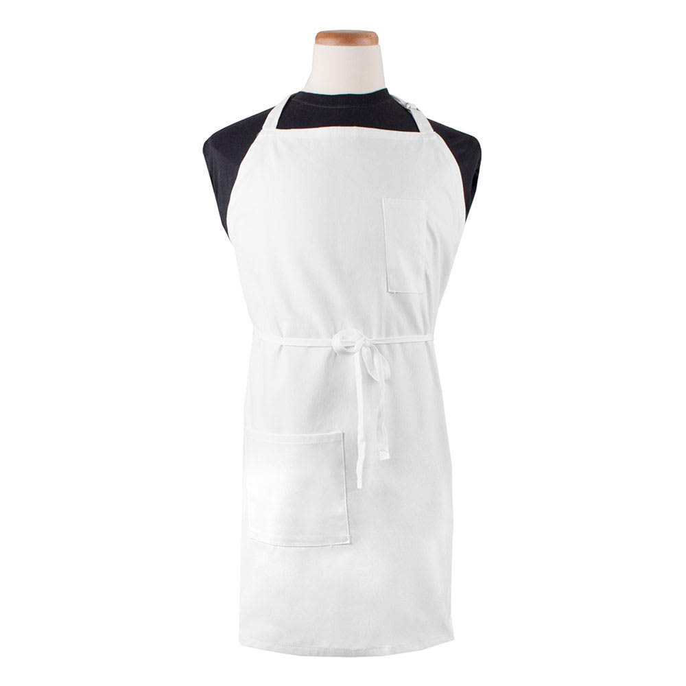 "Ritz CL2PBIAWH-1 1-Pocket Bib Apron w/ Adjustable Neckstrap - 32"" x 32.5"", Cotton/Poly, White"
