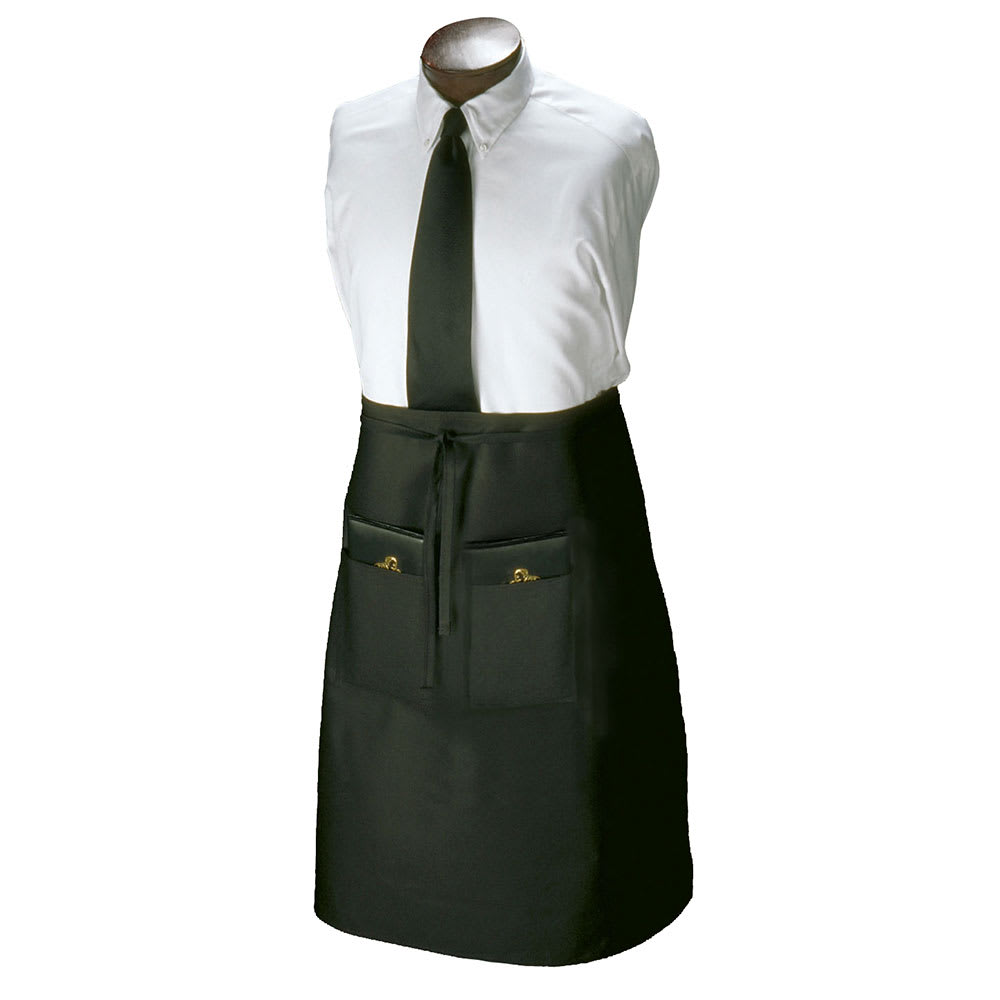 """Ritz CL2PWABK-1 2 Pocket Waist Apron - 33"""" x 30"""", Polyester, Black"""