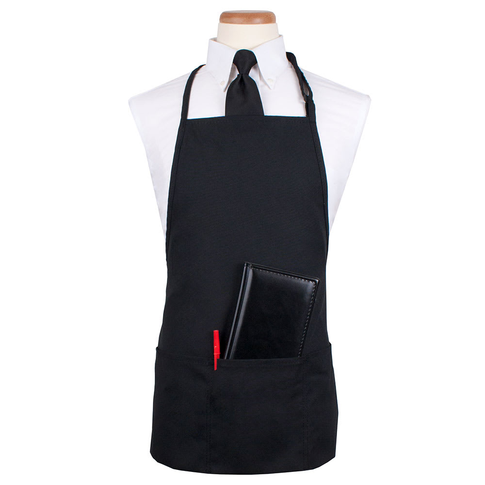 "Ritz CL3PBIABKFP-1 3 Pocket Bib Apron w/ Adjustable Neckstrap - 26"" x 23"", Polyester, Black"