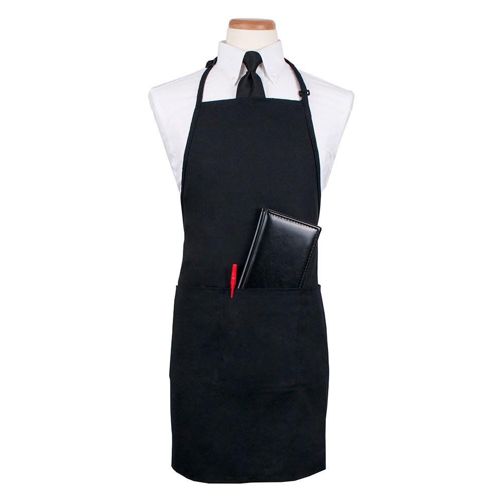 """Ritz CL3PBIAELBK-1 3-Pocket Bib Apron w/ Adjustable Neckstrap - 26"""" x 31"""", Polyester, Black"""