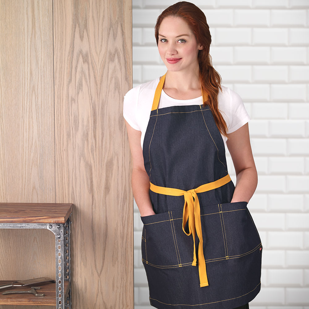 "Ritz CL3PBIAELNVD-1 3-Pocket Bib Apron - 26"" x 31"", Cotton/Spandex, Navy Blue"