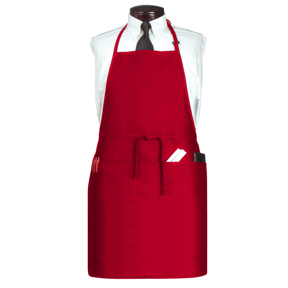 "Ritz CL3PBIAELRD-1 3 Pocket Bib Apron w/ Adjustable Neckstrap - 26"" x 31"", Polyester, Red"