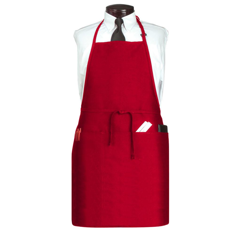 "Ritz CL3PBIAELRD-1 3-Pocket Bib Apron w/ Adjustable Neckstrap - 26"" x 31"", Polyester, Red"