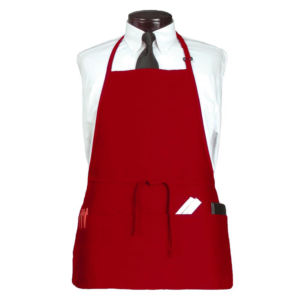 """Ritz CL3PBIARDFP-1 3 Pocket Bib Apron w/ Adjustable Neckstrap - 26"""" x 23"""", Polyester, Red"""
