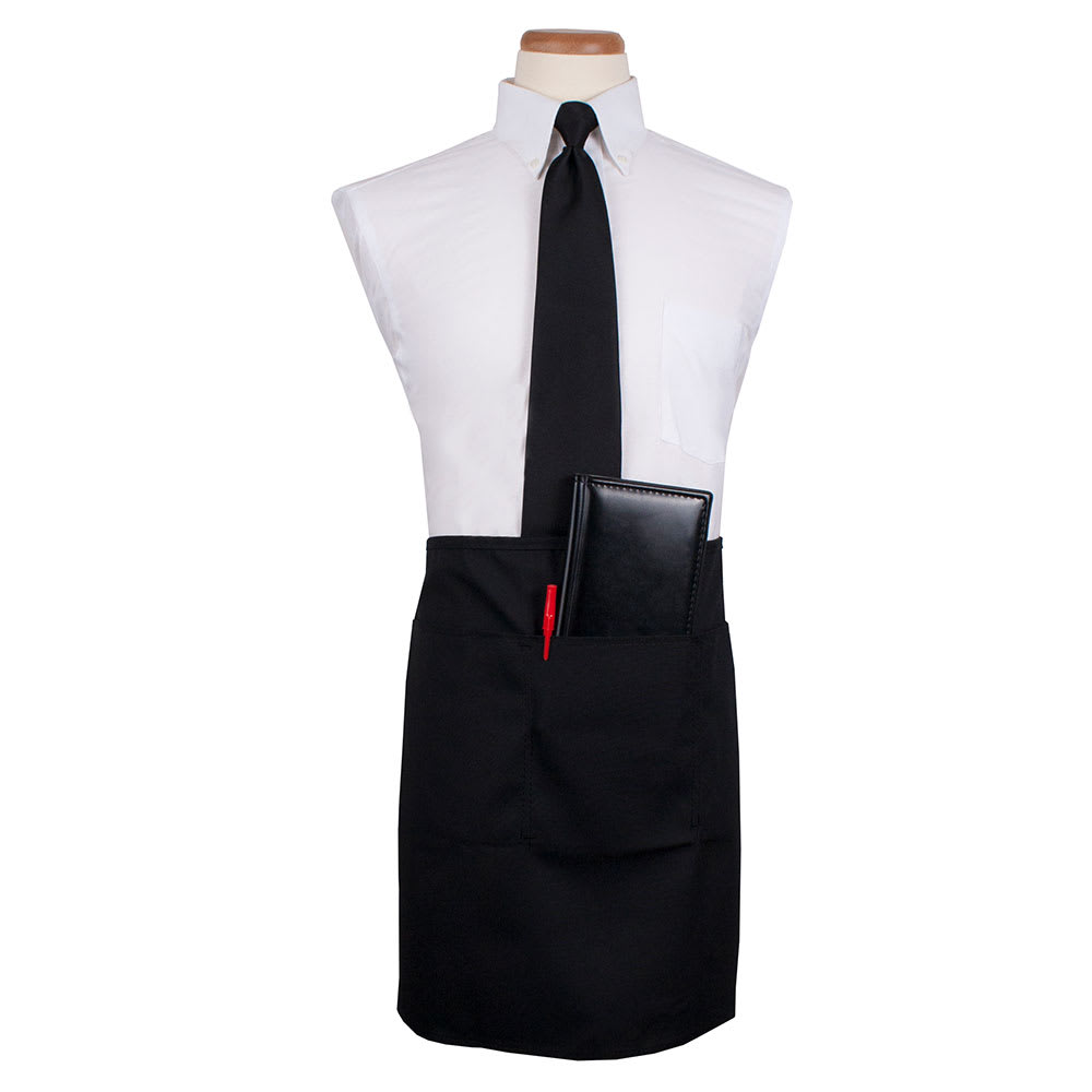 "Ritz CL3PWACELBK-1 3-Pocket Waist Apron - 26"" x 18.5"", Polyester, Black"