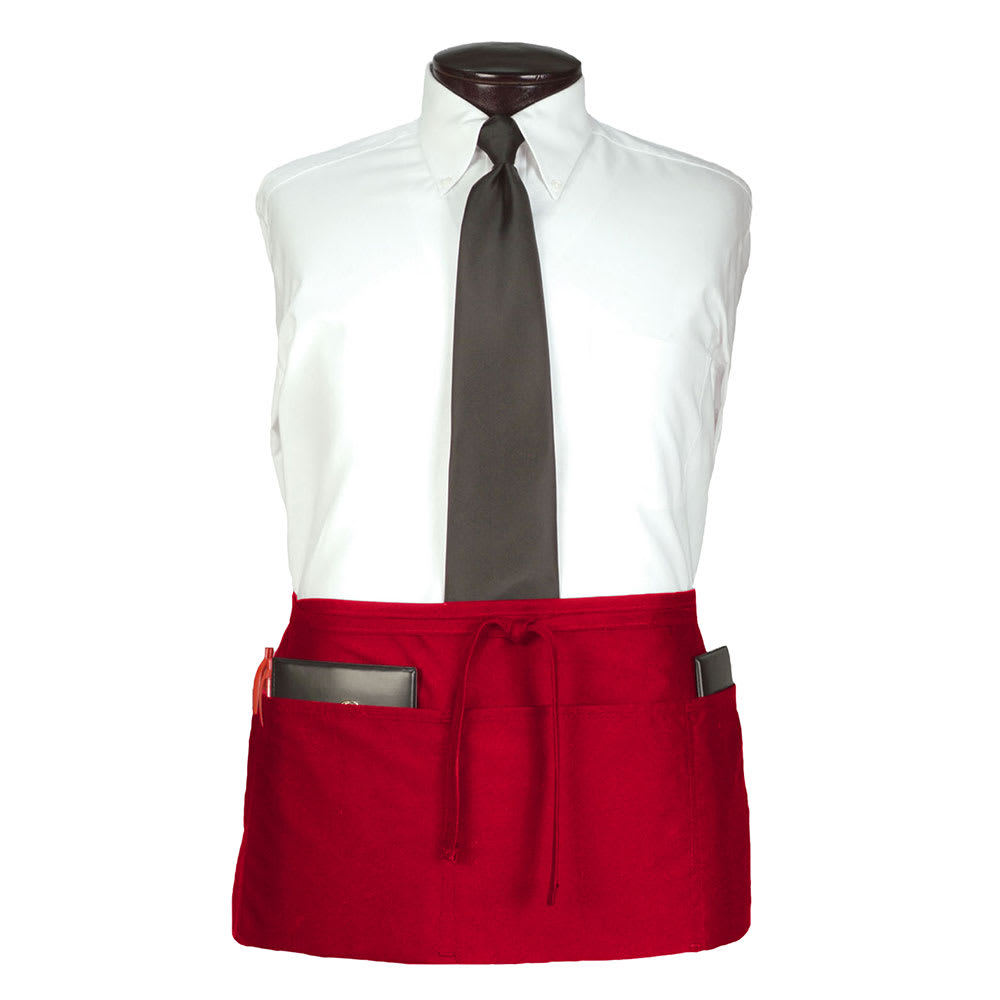 "Ritz CL3PWACRD-1 3-Pocket Waist Apron - 25"" x 11"", Polyester, Red"